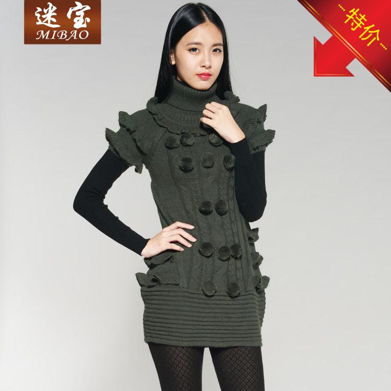 品牌女装秋冬款针织毛衣连衣裙时尚韩版中长款羊毛裙修身打底裙子
