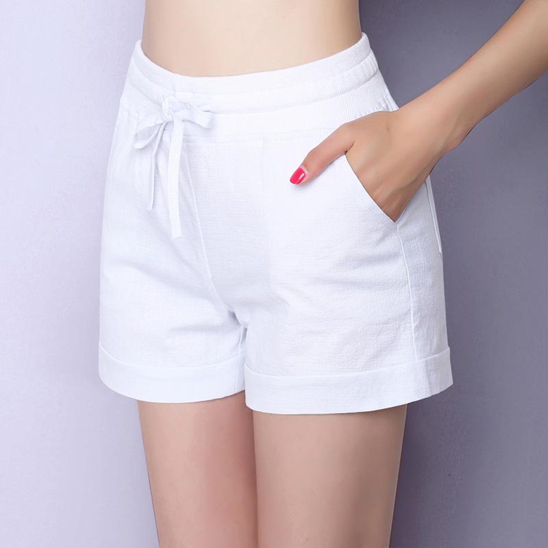 Quần short nữ mùa hè quần âu kích thước lớn lỏng thể thao quần chân rộng đàn hồi eo cotton quần nóng 2018 mới mỏng