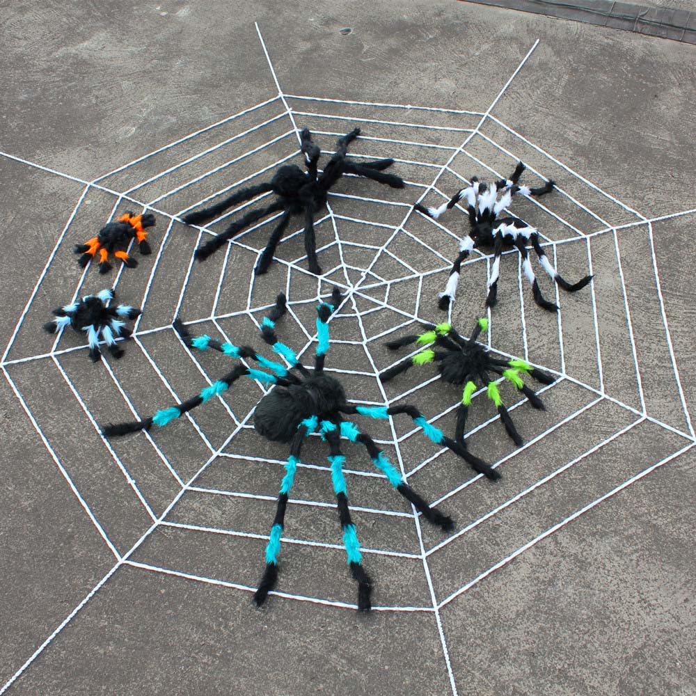 Lin Fang Halloween props Halloween decoration cloth field supplies Spider 1 5 meters 3 meters white black spider web