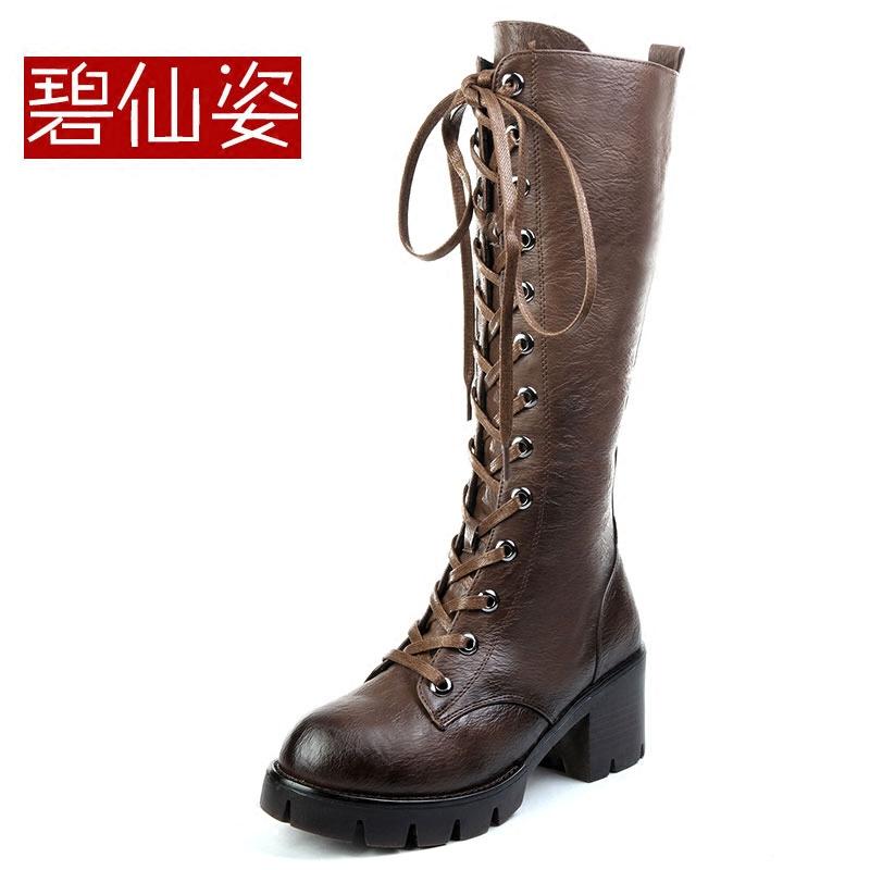 韩版冬季高跟高筒靴潮复古英伦风系带马丁靴长靴加绒长筒靴女靴子