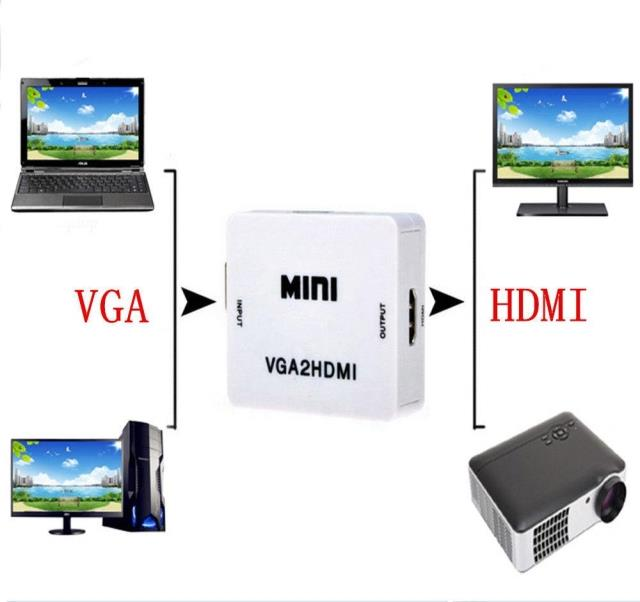 USD 10.40] HD vga to hdmi interface connector converter with audio ...