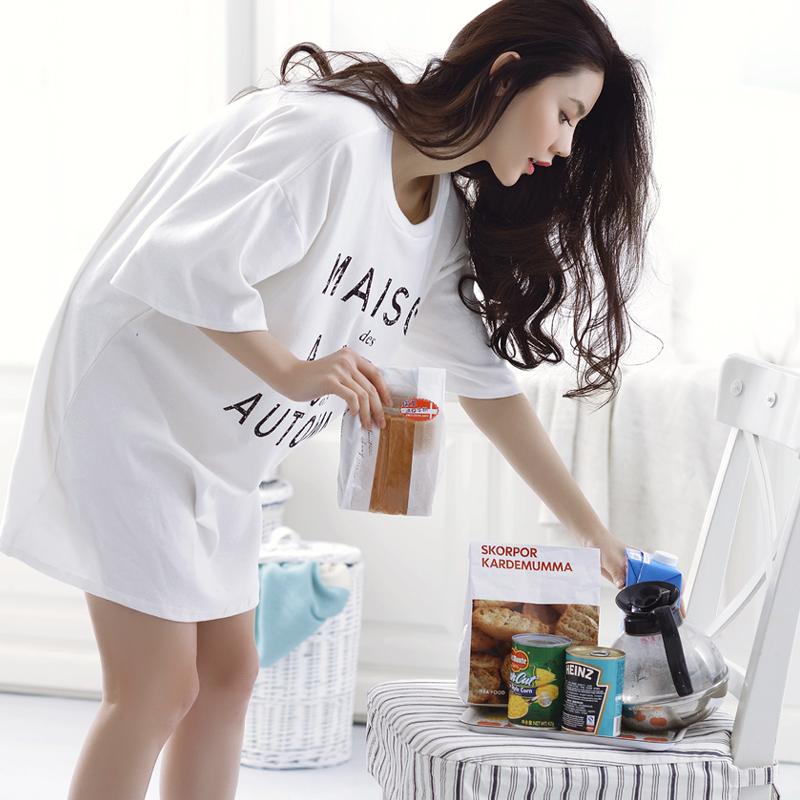 Beyan Korean woman pajamas spring and summer comfortable large size female  cotton nightdress cute lady cotton 5186f8504