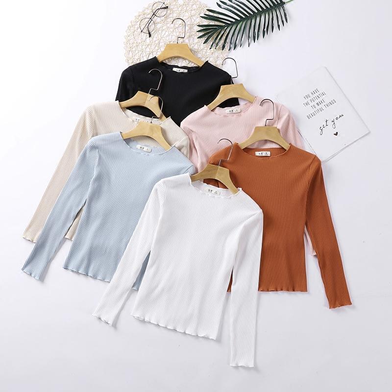 春季薄款白色针织长袖衫内搭女韩版修身百搭短款T恤上衣打底紧身