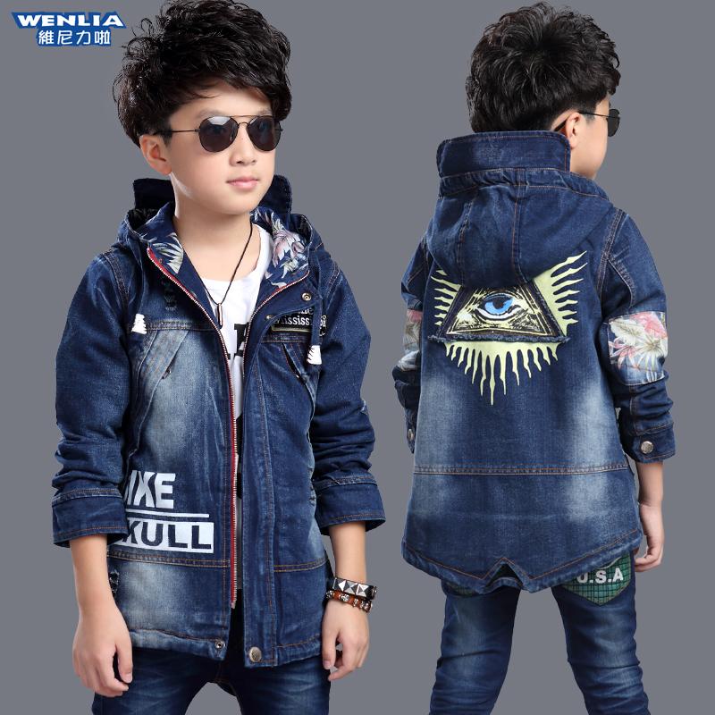 21929b014 Children's clothing autumn boy cowboy jacket 8 teens 9 tops windbreaker 10  children's clothing 11 boys 12-14-15 years old