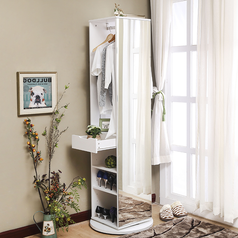 Small Apartment Full Length Mirror European Wardrobe With Mirror Swivel  Floor To Ceiling