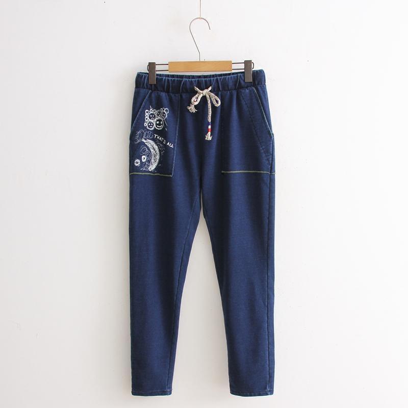 2015秋装新款民族风刺绣薄款牛仔裤女装长裤直筒裤日系森女系
