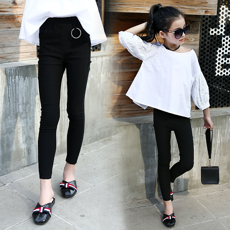 391e41f9e Pure black 10 girls jeans to wear early spring 11 children s leggings 7-12- year-old pupils Korean pencil pants