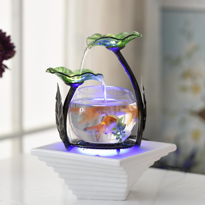 Nhà phòng khách nhỏ fish tank nước tủ TV trang trí gốm đài phun nước máy tính để bàn tạo độ ẩm sáng tạo món quà sinh nhật