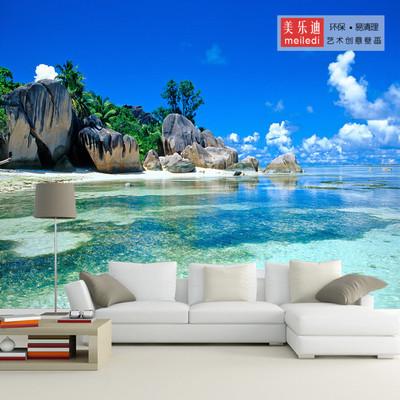 風景海景地中海壁畫 3d5d8d現代簡約山水壁紙 臥室沙發影視墻墻布
