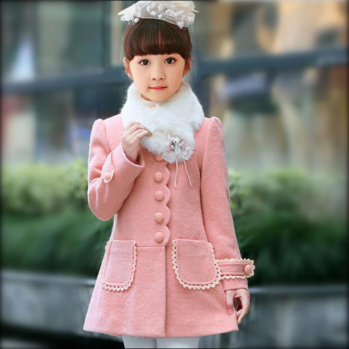 童装女童呢子外套秋冬季夹棉呢大衣加厚儿童毛呢风衣女中小童韩版