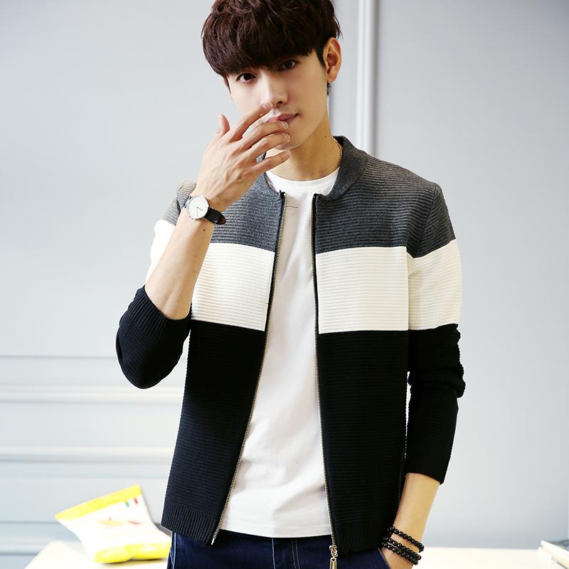 秋装男士毛衣青年韩版修身套头针织衫男休闲上衣学生毛线衫男外套