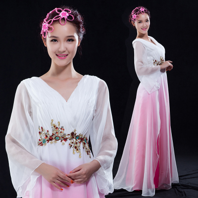 Chinese Folk Dance Costumes Classical Dance Costume Performing Dresses Women's Water Sleeve Fan Dance Chorus Dresses Modern Dance Adults