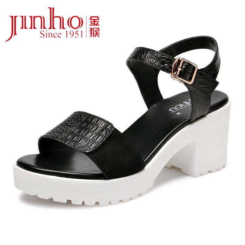 金猴夏季 时尚粗跟牛皮女凉鞋 修身舒适显瘦高跟女鞋