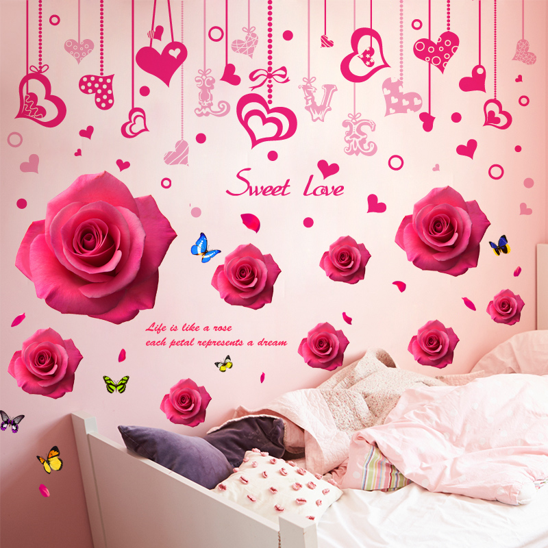 3d Three Dimensional Wedding Wall Stickers Bedroom Room Warm Romantic  Wedding Room Self Adhesive Painting Wall Decoration Supplies Decals