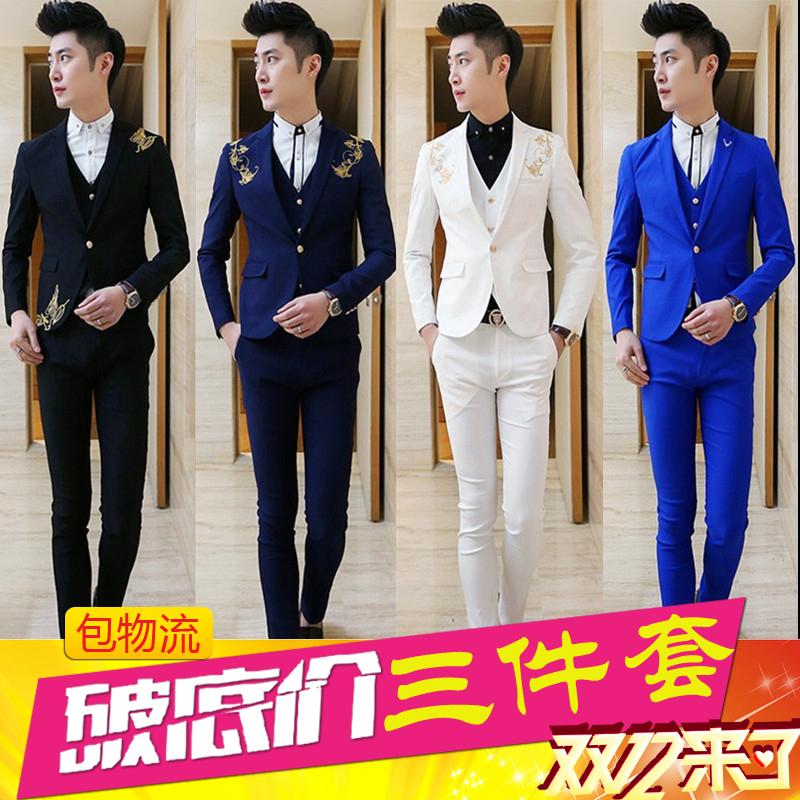 佐仕顿西服套装男士西装三件套韩版修身职业装伴郎新郎结婚礼服冬