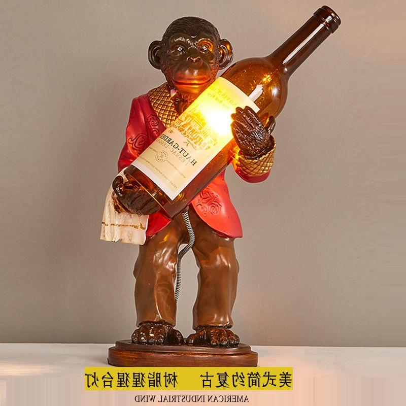 复古树脂个性猴子酒瓶创意猩猩台灯咖啡馆吧台艺术书房卧室包邮