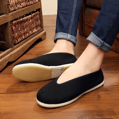 Chinese Tai Chi Kung Fu Shoes Beijing Cloth Shoes Handmade Thousand-Layer Bottom Men Leisure Shoes Round-mouth Cloth Shoes