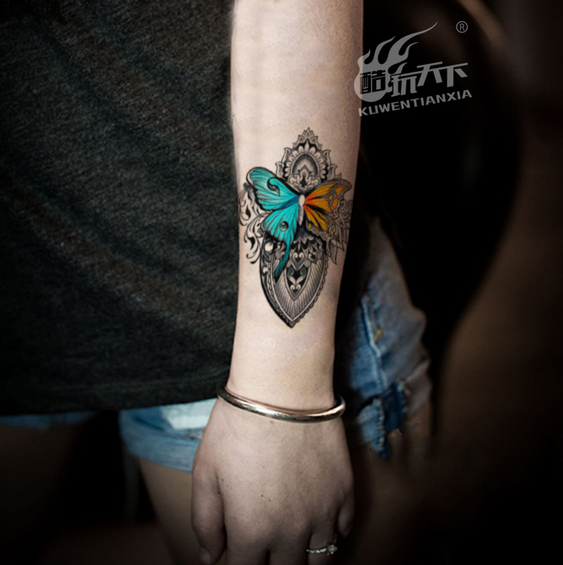 Coldplay World Tattoo Stickers Blue Butterfly Chest Belly Arm Waterproof Lotus Totem Tattoo Stickers