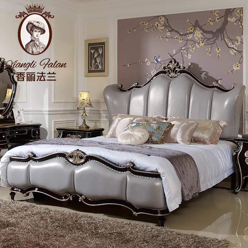 香麗法蘭 歐式新古典法式深色家具婚床1.8米雙人實木床美式真皮床