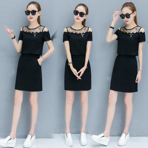 条纹连衣裙女子夏装新款韩版时尚修身显瘦气质一字露肩中长款