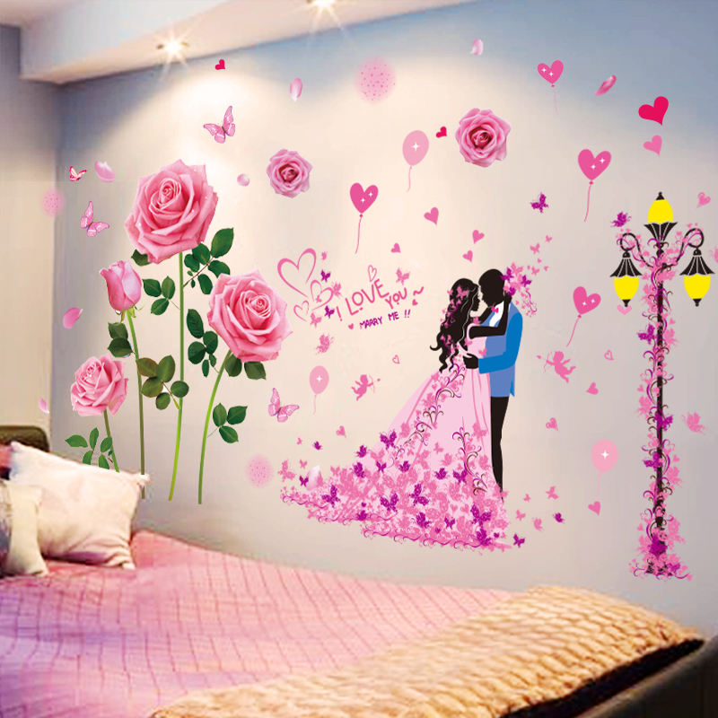 3D stereo bedroom wall stickers wall decoration bedside wall ...