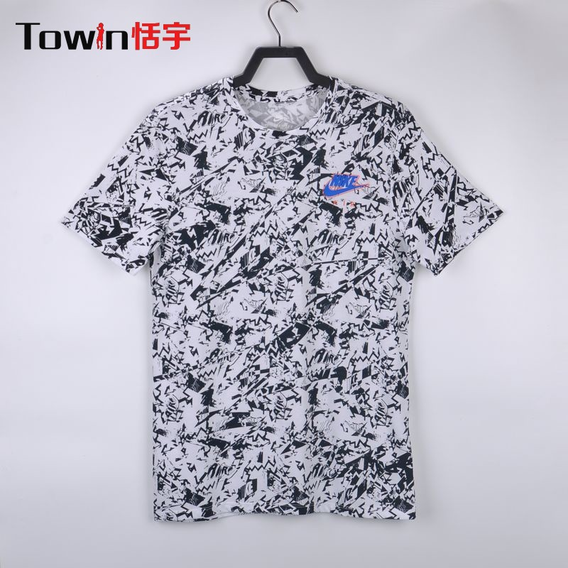 cde907f0390a Nike NSW TEE men black and white AIR culture elements graffiti short sleeve  casual T-shirt 906967-100
