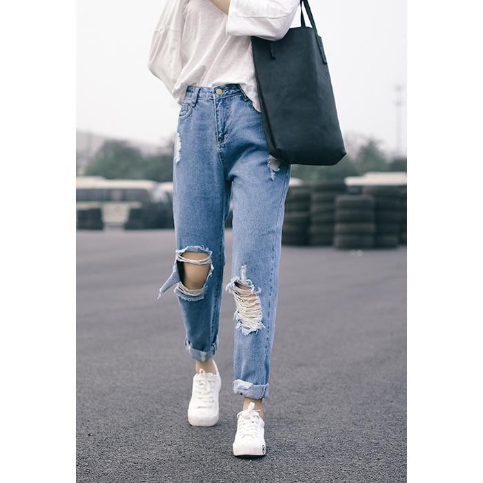【天天特价】破洞牛仔裤七分裤女夏个性钉珠乞丐裤宽松哈伦小脚裤