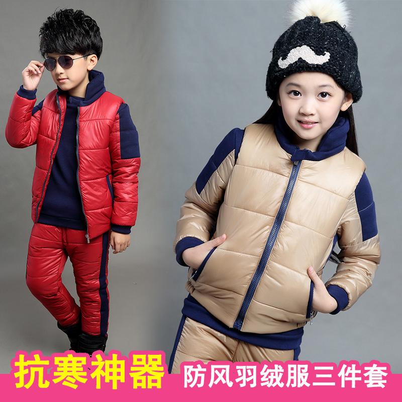 儿童运动套装加厚加绒2015冬季出游服装女童中大童三件套韩版