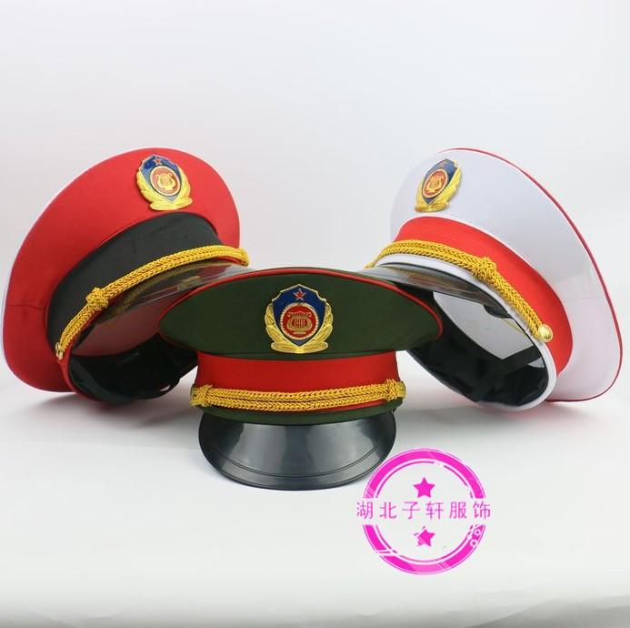 红绿白色乐队大盖帽礼仪帽子中老年文工团大盖帽升旗手服装大檐帽