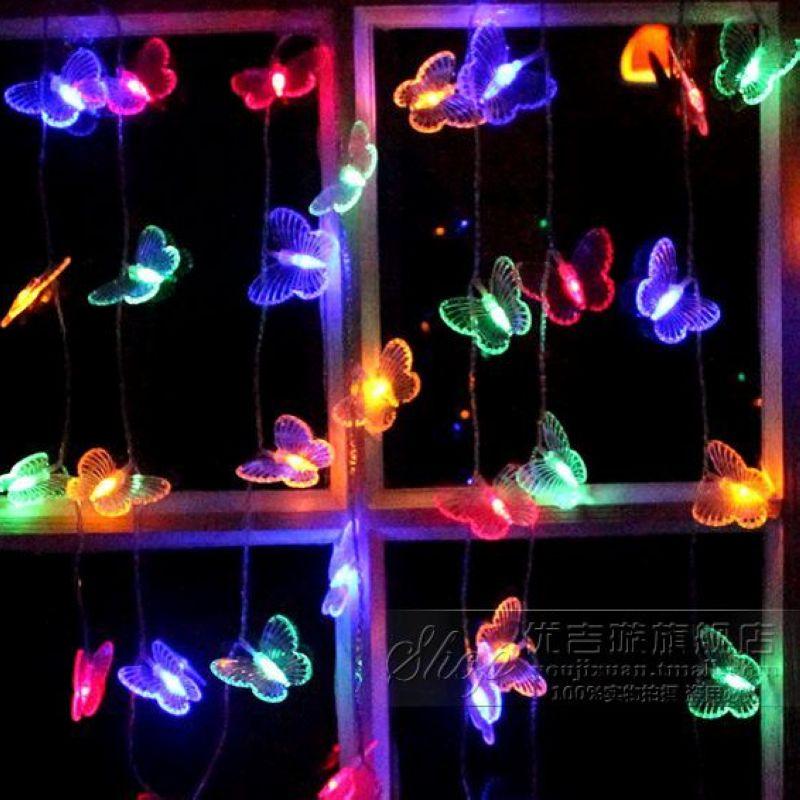 圣诞节装饰品圣诞树户外led彩灯闪灯串灯蝴蝶电池大号灯圣诞彩灯