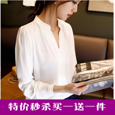 2016 spring new women Korean version of the chiffon shirt shirt OL pure white simple casual long-sleeved blouse