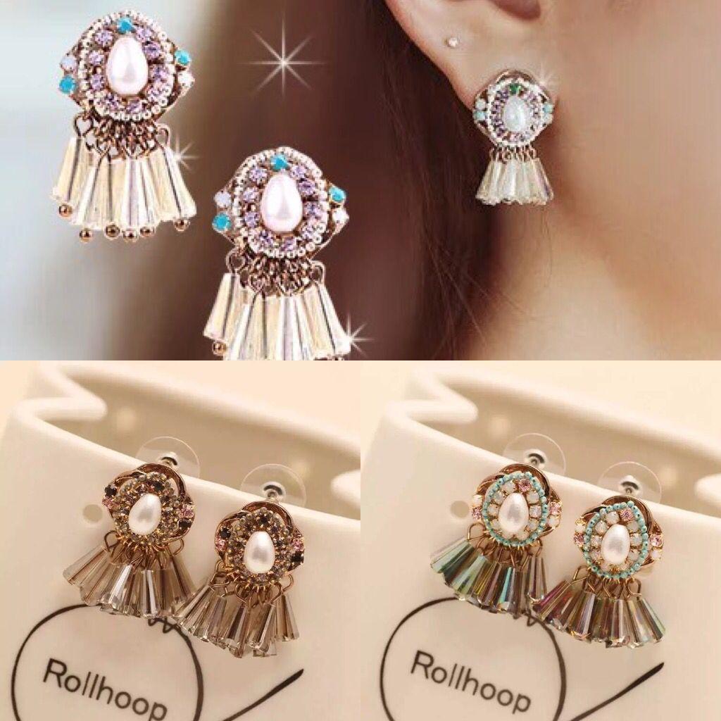 日韩韩国新款珍珠流苏短款潮流优雅复古气质耳环女耳钉装饰品配饰