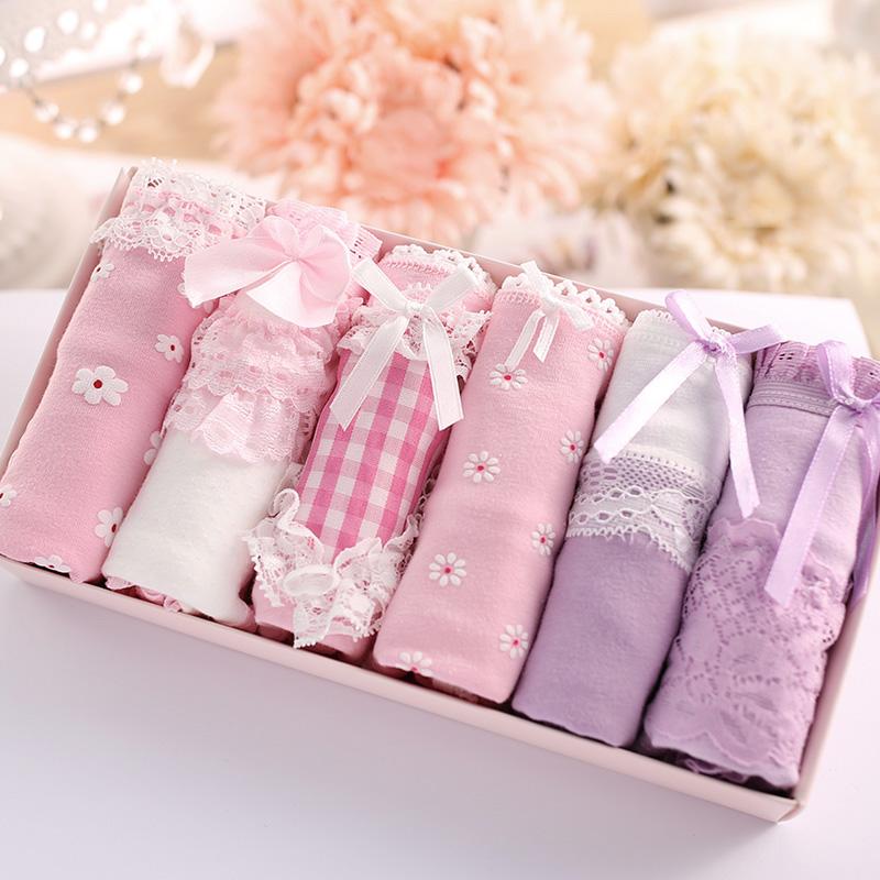 Bướm Ai Nie bông cô gái đồ lót đồ lót tóm tắt bông hộp quà tặng 6 nạp đa màu kết hợp