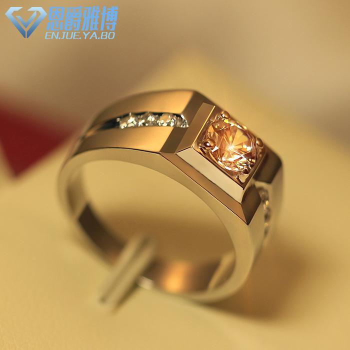 925纯银电镀白金男士戒指 时尚韩版男戒明星款 个性单身指环 刻字