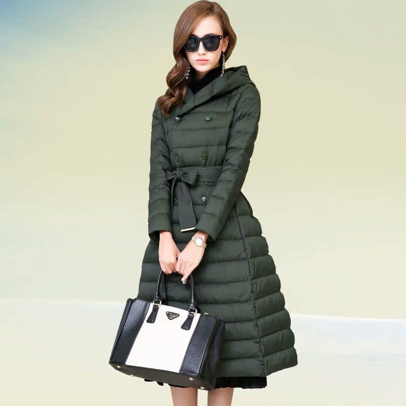 羽绒服女中长款加厚2015冬装新款女装韩版修身a字蝴蝶结品牌外套