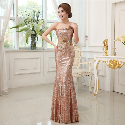banquet elegant dress long evening dress host slim sequins