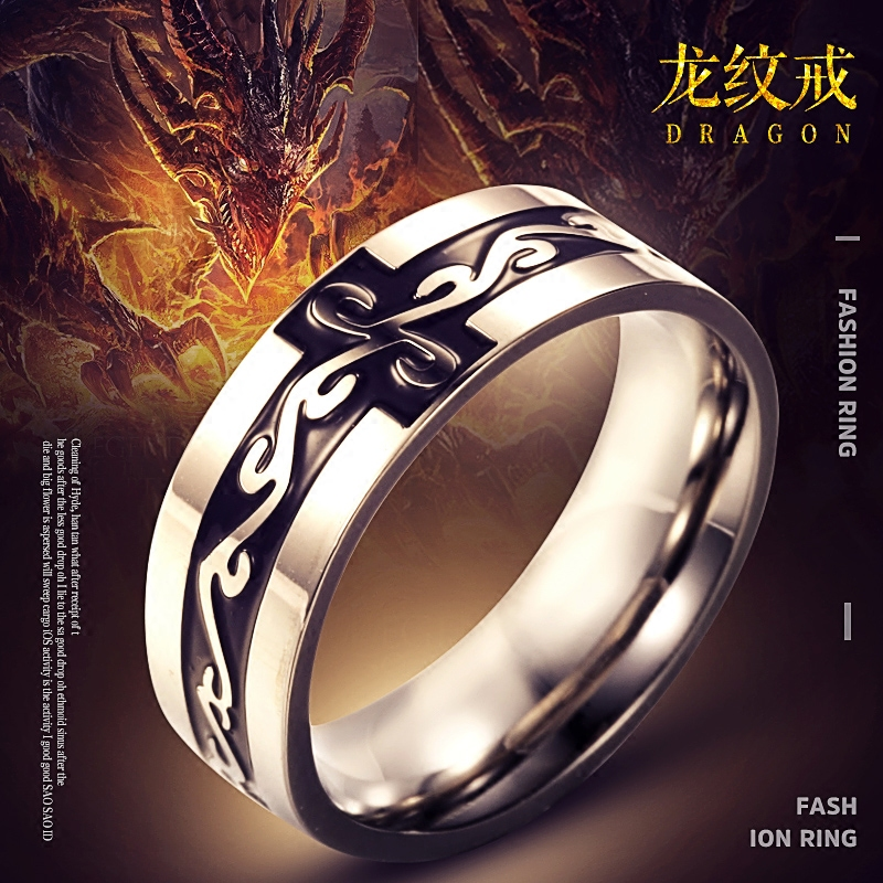dbf033f5cf Dragon ring men's index finger ring titanium steel domineering retro couple  ring Japan and South Korea fashion personality single tail ring female