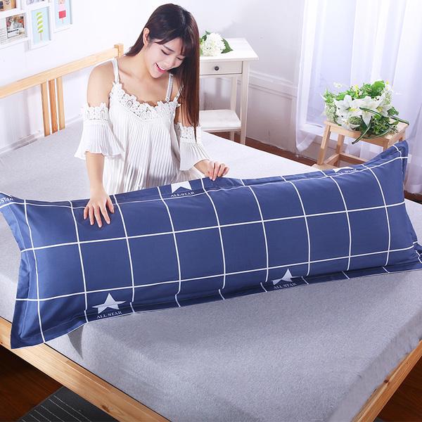 床上三件套月曼双人枕套长枕套1.2/1.5/1.8m米情侣婚...