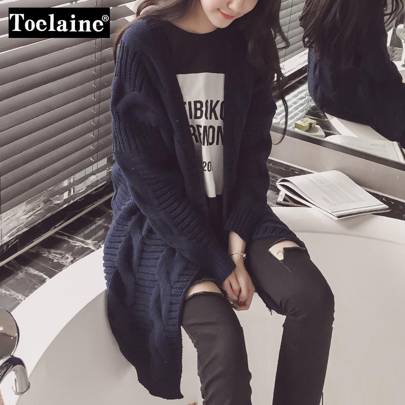 韩版长款开衫针织衫女毛线衣外套 2016春装新款外搭毛衣学院风