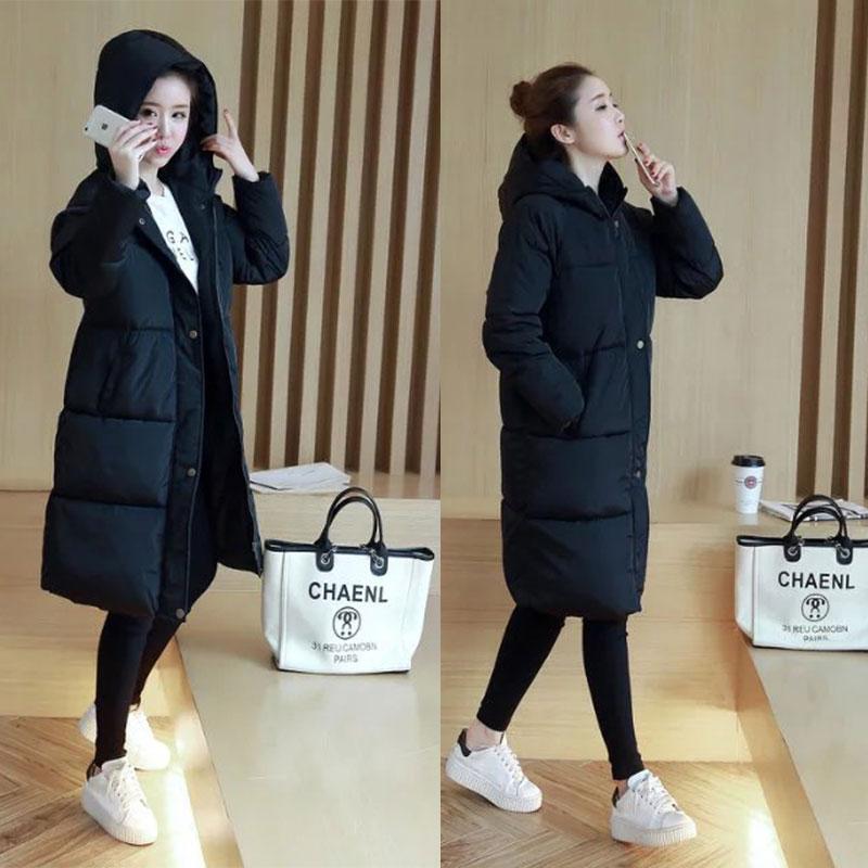 Chống mùa giải phóng mặt bằng mùa đông Hàn Quốc lỏng kích thước lớn bông áo khoác nữ sinh viên trên đầu gối đội mũ trùm đầu dài xuống lông bông áo khoác