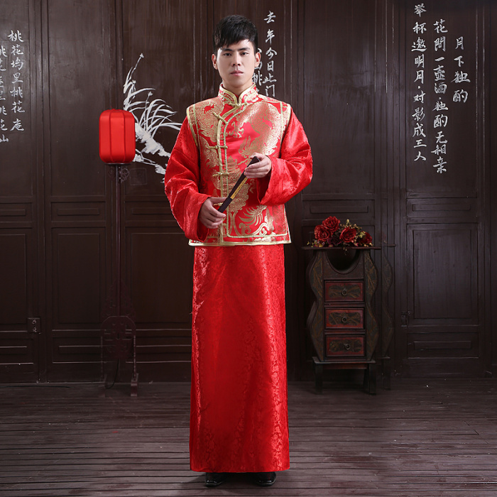 5d0be6b54 High-grade men's costume tunic red Tang suit Chinese wedding dress groom wedding  dress show wo clothing