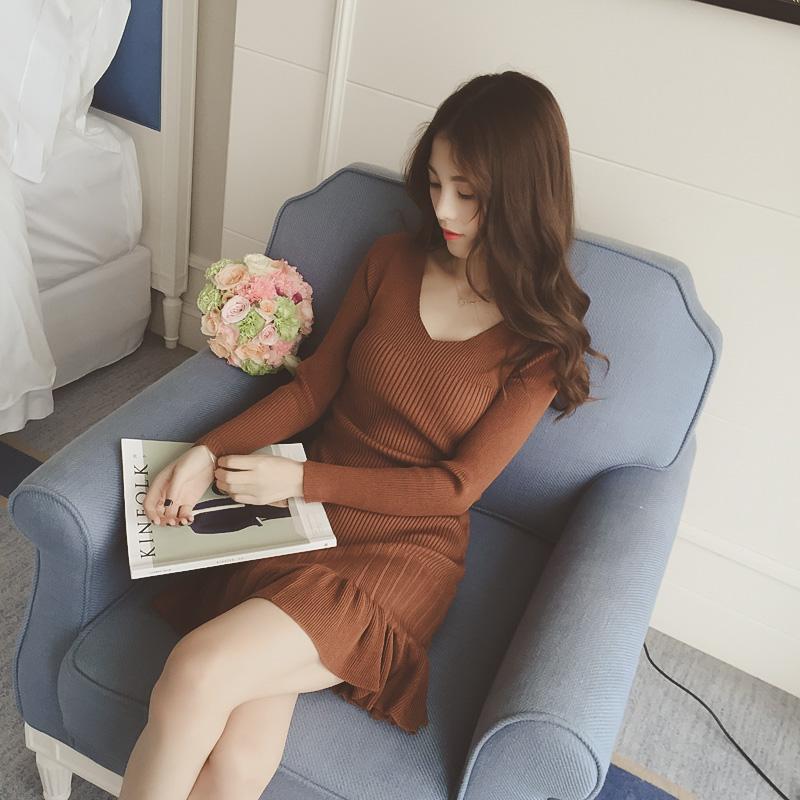 秋装韩版长袖修身显瘦打底牛仔衬衫连衣裙女下摆荷叶边鱼尾牛仔裙