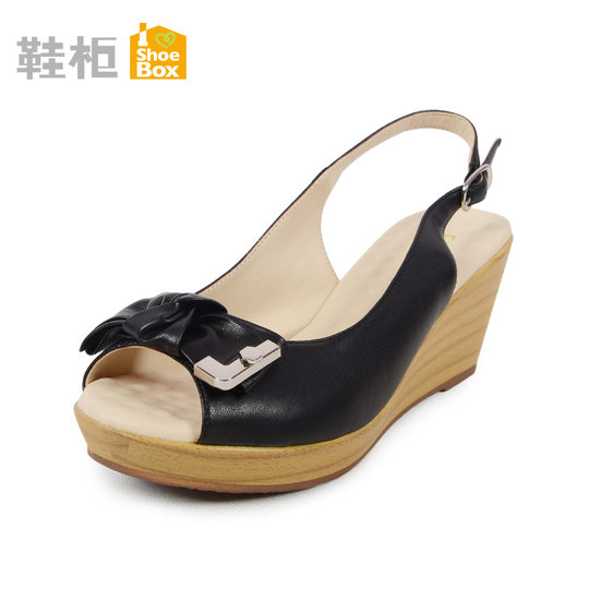 Daphne/ Daphne's Shoe Cabinet Summer Comfort Solid Color Bow Slope Fish Head Female Sandals Clearance