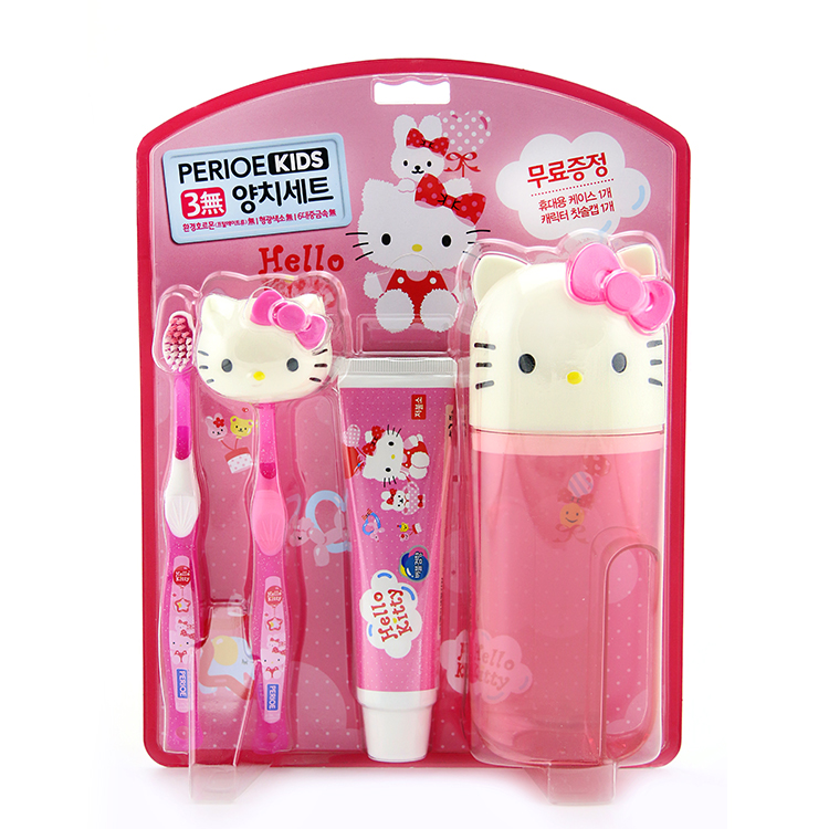 韩国LG产hello kitty机器人儿童牙刷牙膏套装漱口杯挂钩牙具5件套