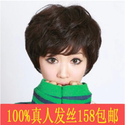 17 new real hair human hair wig short hair fluffy short curly hair middle aged elderly ladies wig mother