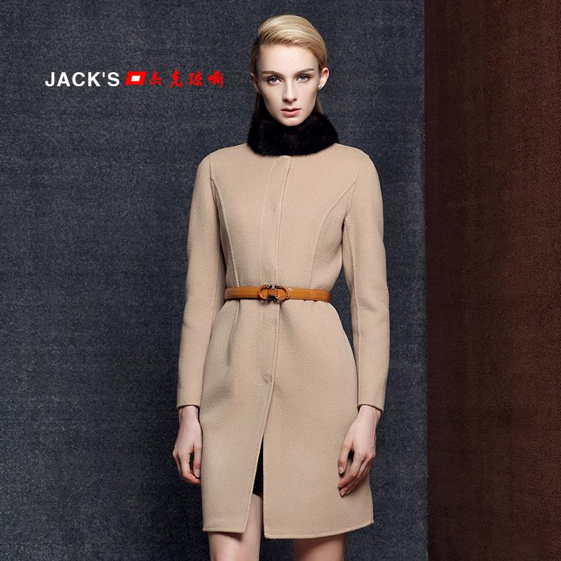 韩国代购2015冬季韩版中长款羊毛呢貂子毛领连帽宽松大衣外套女潮