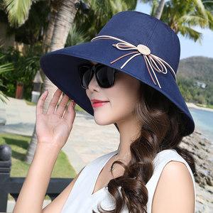 帽子女士夏天遮阳帽可折叠防晒渔夫帽韩版盆帽百搭防紫外线太阳帽