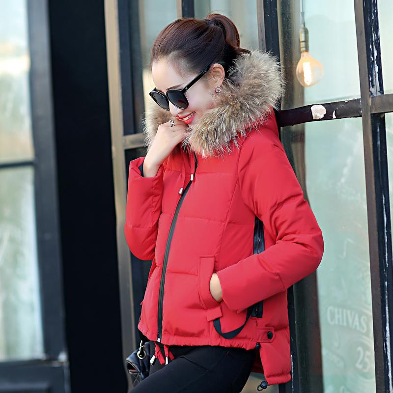 2015韩版新款大毛领中长款拼接A字版燕尾羽绒服女修身加厚外套潮