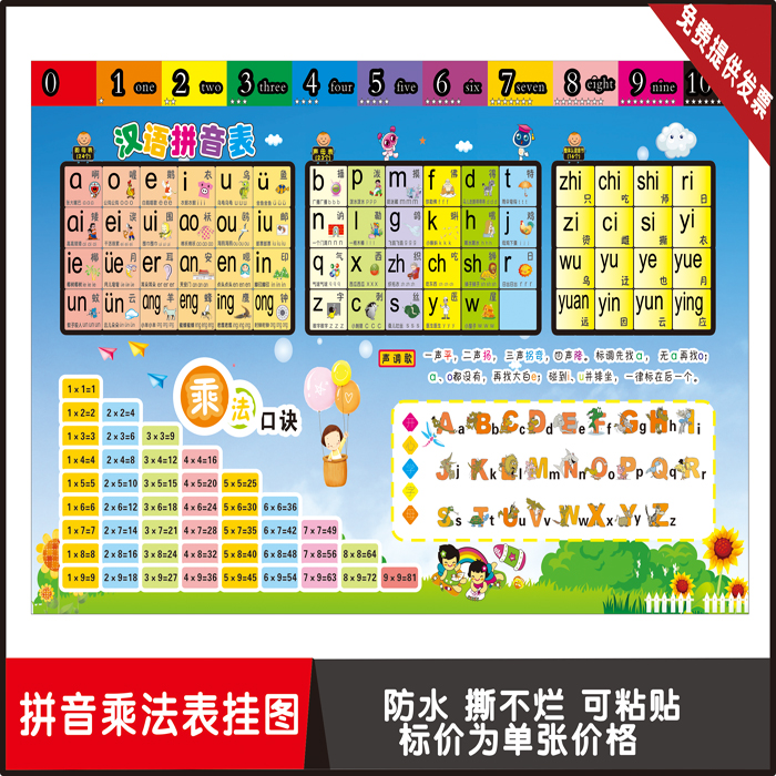 Primary School Students Pinyin Math Multiplication Table 26 English