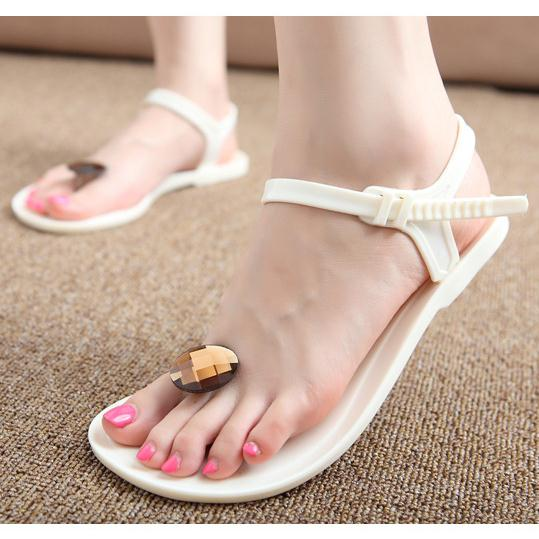 Summer New Diamond Flat With Female Sandals Plastic Shoes Jelly Transpa Toe Beach